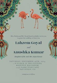 Oriental flamingos - Wedding Invitation