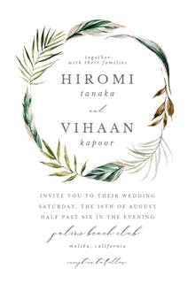 Palm Wreath - Wedding Invitation