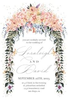 Pastel Flowers Gate - Wedding Invitation