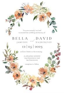 Peach & Cream Florals - Wedding Invitation