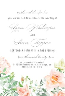 Peach And Greenery - Wedding Invitation