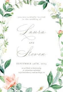 Peach And Greenery - Wedding Invitation