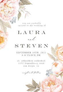 Peach Flowers - Wedding Invitation