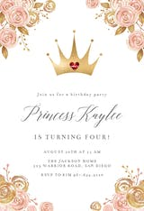 Pink & Gold Floral Princess - Birthday Invitation