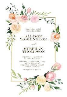 Pink Botanical Wreath - Wedding Invitation