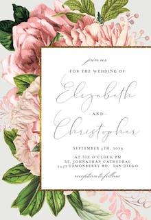 Pink Bouquets - Wedding Invitation