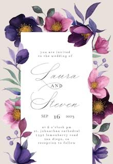 Pink Purple Flowers - Wedding Invitation