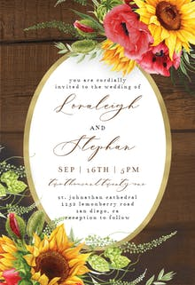 Poppies Sunflowers Frame - Wedding Invitation
