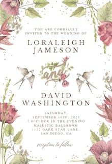 Poppy and Birds - Wedding Invitation