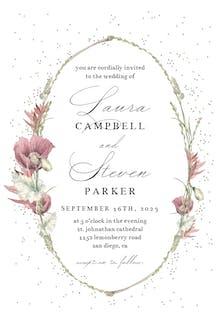 Poppy Flower Wreath - Wedding Invitation