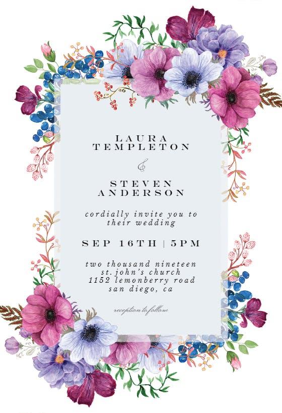 Purple Flower Wedding Invites Printable OR Printed Wedding Invitations Purple Wedding Invitations Purple and White Invitations 0016