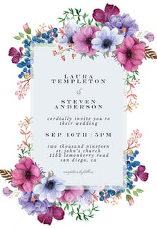 Purple Bouquet - Wedding Invitation