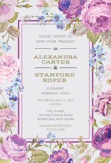 Romantic Cabbage Roses - Wedding Invitation