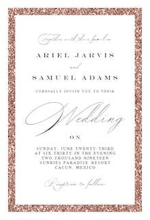 Rose Glitter Border - Wedding Invitation