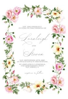 Roses Watercolor Wreath - Wedding Invitation