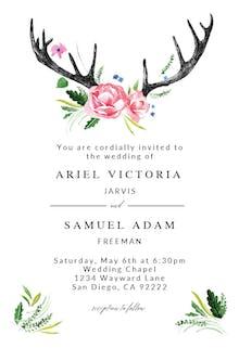 Rustic Antlers - Wedding Invitation