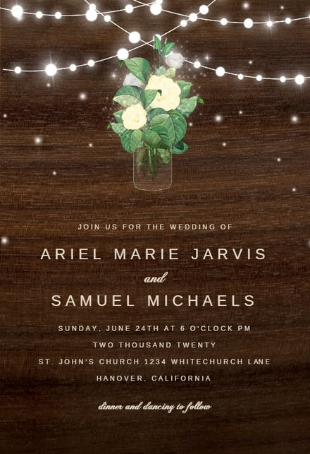 Rustic Mason Jar Wedding Invitation Template Free