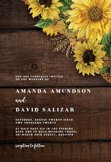 Rustic Sunflowers - Wedding Invitation