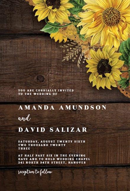 Rustic Sunflowers Wedding Invitation Template Greetings Island