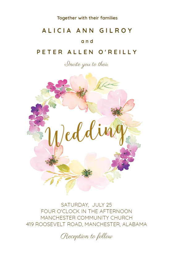 Sentimental Circle Wedding Invitation Template Free