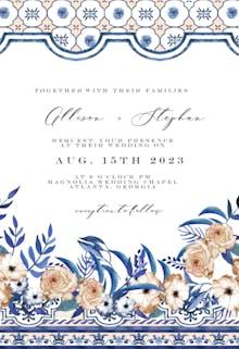 Sicily flowers & tiles - Wedding Invitation