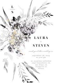 Smokey Flowers Monogram - Wedding Invitation
