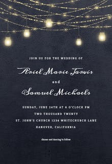 Sparkling mason jar lights - Wedding Invitation