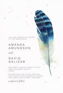 Striped feather - Wedding Invitation