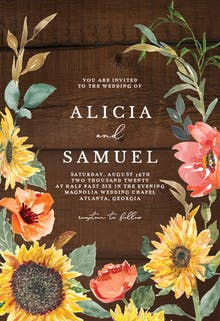 Sunflower Border - Wedding Invitation