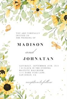 Sunflowers & Butterflies - Wedding Invitation