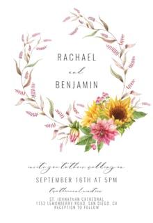 Sunflowers And Dahlias - Wedding Invitation