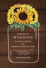 Sunflowers filled jar - Wedding Invitation