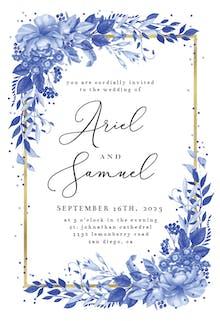 Surreal Indigo Bouquet - Wedding Invitation