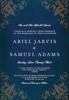 Swirls & Frames Blue - Wedding Invitation