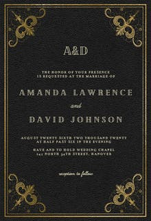 Swirls and Frames Black - Wedding Invitation