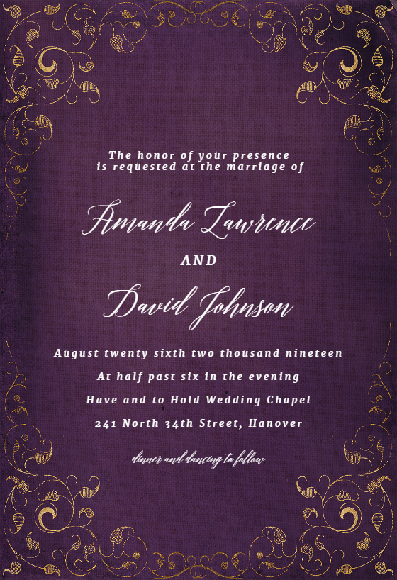 Swirls And Frames Purple Wedding Invitation Template
