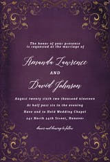 Swirls and Frames Purple - Wedding Invitation
