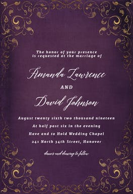 Swirls and Frames Purple - Wedding Invitation