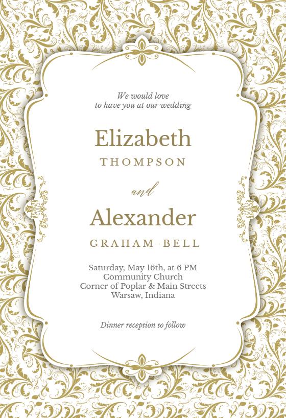 Amazing Tasteful Tapestry Frame   Wedding Invitation