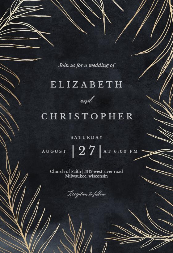 Tropical Gold Palms Wedding Invitation Template Free