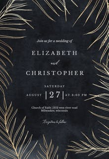 Tropical gold palms - Wedding Invitation