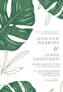 Tropical leaves - Wedding Invitation