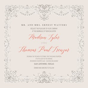 Vintage Hanky - Wedding Invitation