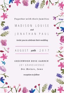 Watercolor Flowers - Wedding Invitation