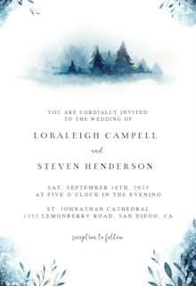 Watercolor Pine Trees - Wedding Invitation