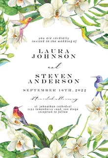 White Orchids - Wedding Invitation