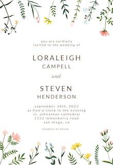 Wildflower Watercolor Border - Wedding Invitation