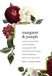 Wine Red Roses - Wedding Invitation