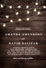 Wood and string lights - Wedding Invitation