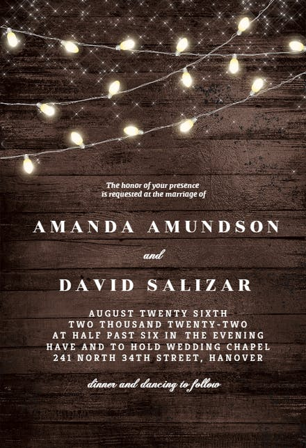 Wood And String Lights Wedding Invitation Template Free